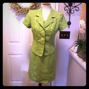 Vintage Dawn Joy Lime Green Dress / Jacket Set